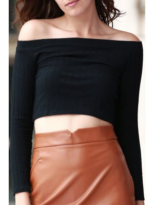Off The Shoulder Solid Color Long Sleeve T-Shirt - Black