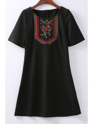 Retro Embroidered Zippered Round Neck Short Sleeve Black Shift Dress - Black