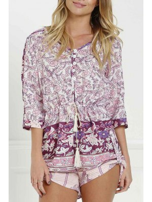 Floral Print V Neck 3/4 Sleeve Romper - Purplish Red