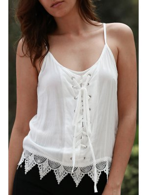 White Lace Splicing Spaghetti Straps Tank Top - White