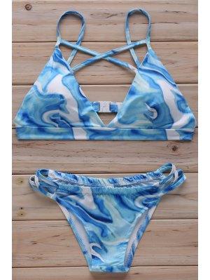 Floral Print Cross Halter Bikini Set - Light Blue