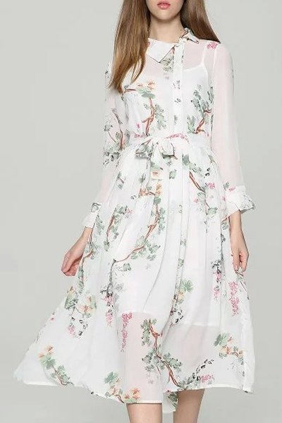 Spaghetti Straps White and Turn-Down Collar Long Sleeve Floral Print Twinset