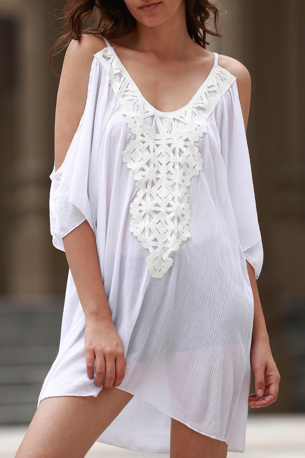 Cold Shoulder 3/4 Sleeve Lacework Splicing Dress