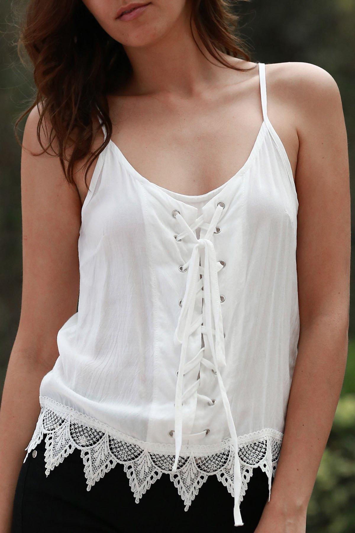 Spaghetti Straps White Lace Splicing Tank Top