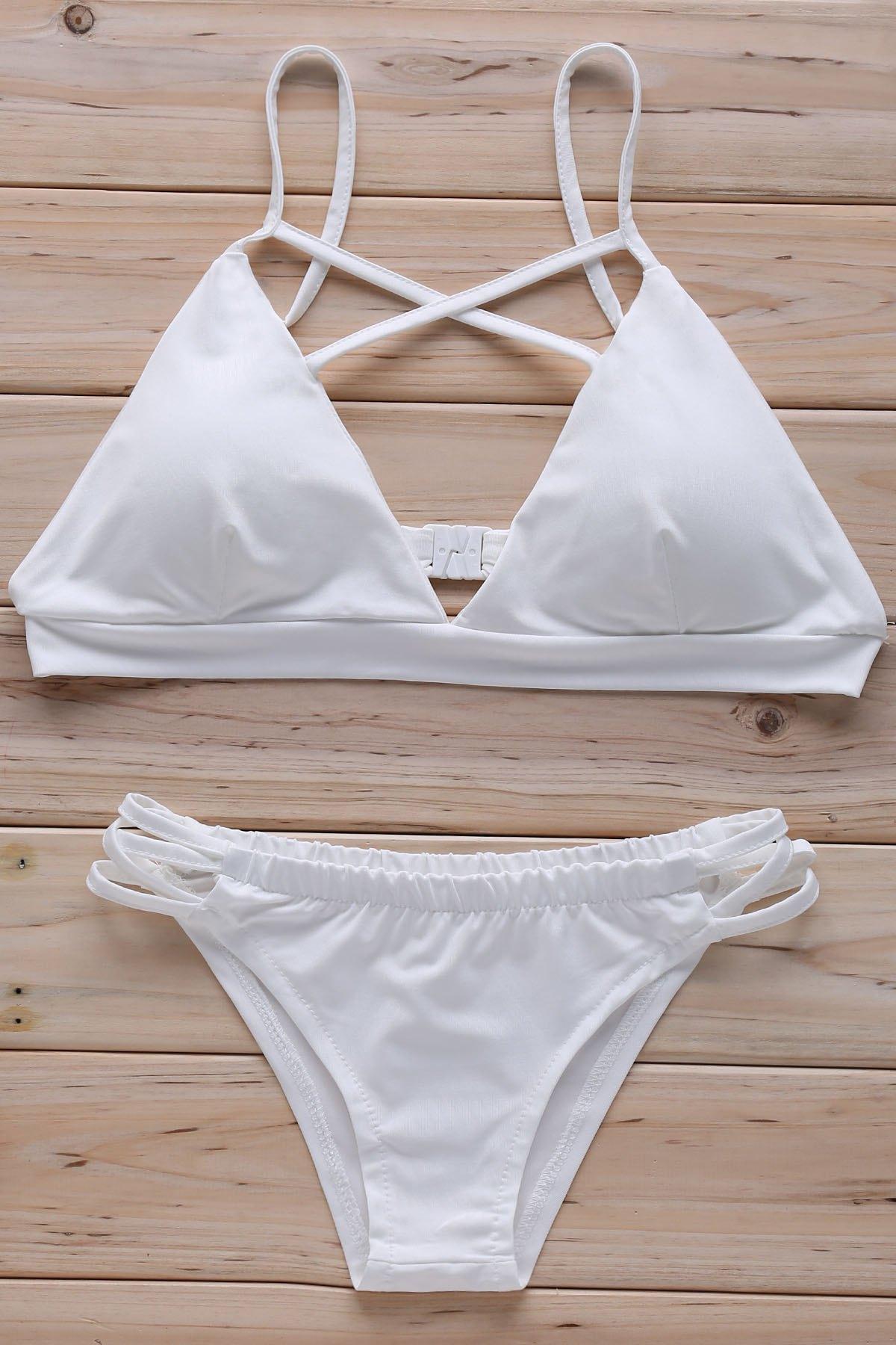 Cross Halter Solid Color Bikini Set