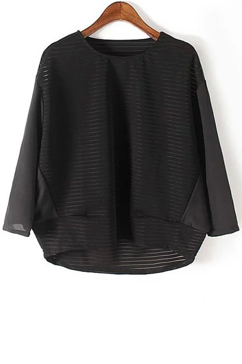 Loose See Through Round Neck Bat-Wing Sleeve Blouse