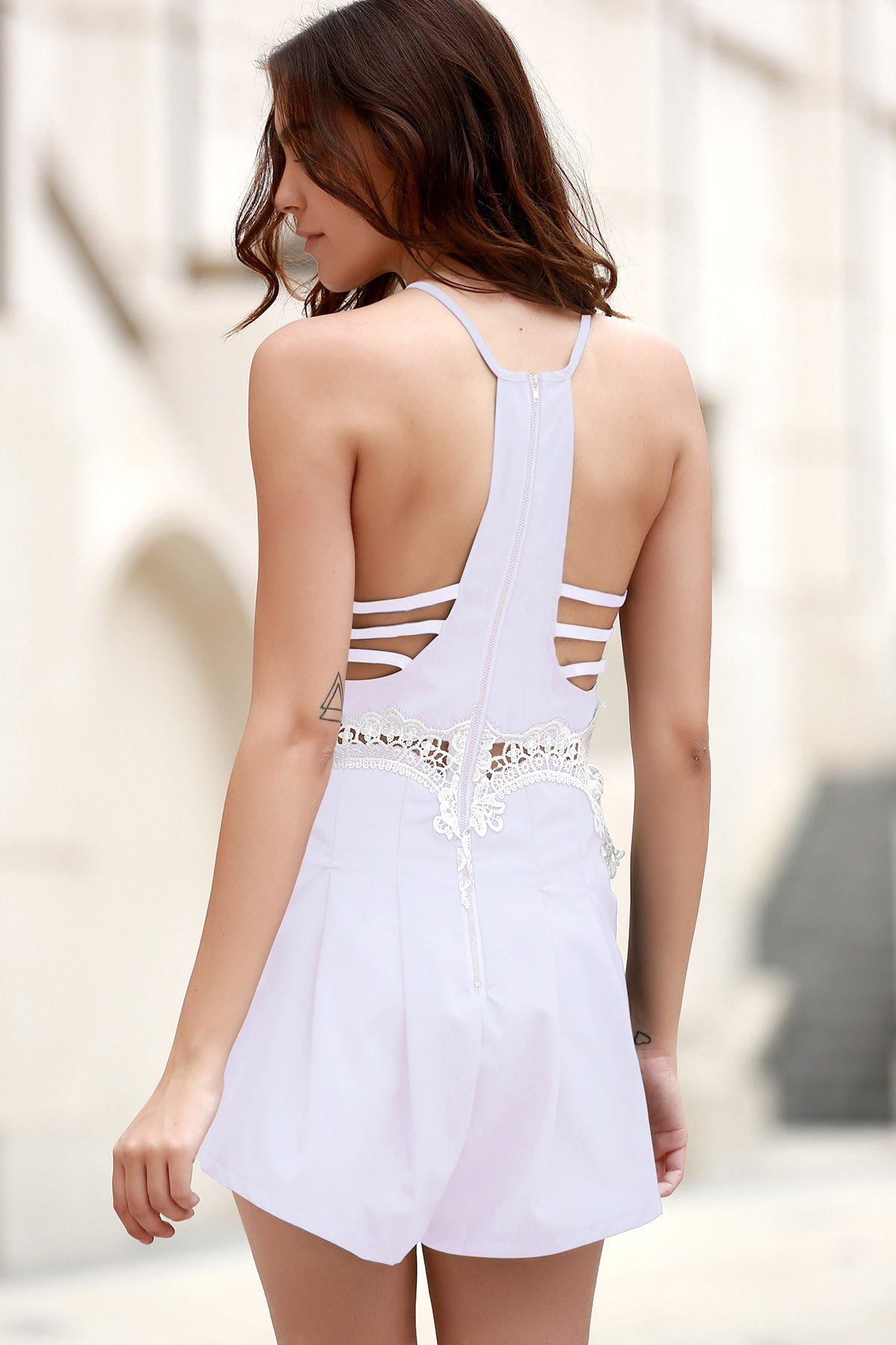 Lace Spliced Cami Playsuit