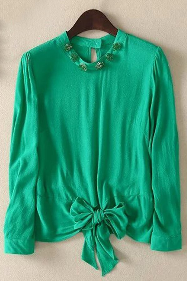 Round Neck Long Sleeve Bowknot Solid Color Blouse