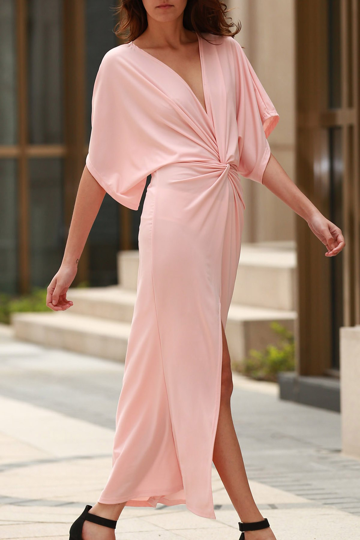Plunging Neck Half Sleeve Light Pink Maxi Dress