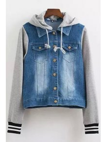 Casual Hooded Denim Splicing Long Sleeve Coat