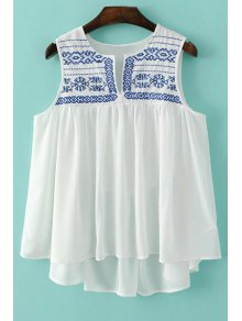 Loose Embroidery Round Neck Tank Top