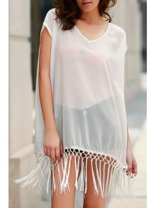 Solid Color Fringe Short Sleeve Cover-Up