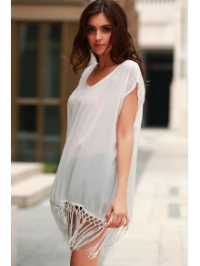 Solid Color Fringe Short Sleeve Cover-Up - WHITE ONE SIZE(FIT SIZE XS TO M)