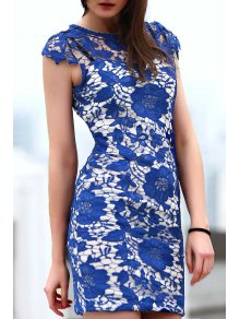 Blue Lace Short Sleeve Slimming Dress - BLUE S