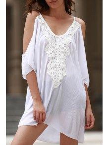 Cold Shoulder Lacework Splicing 3/4 Sleeve Dress