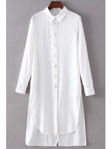 Perspective High Low Turn-Down Collar Long Sleeve Shirt - White S