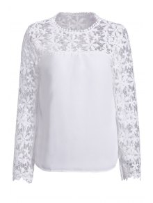 Crochet Flower Spliced Long Sleeve Blouse - White M