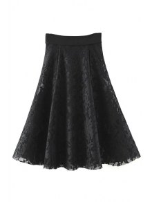 Solid Color High Waist A-Line Floral Lace Skirt