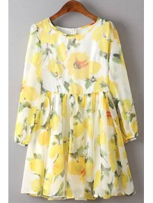 Flower Print Round Neck 3/4 Sleeve Dress