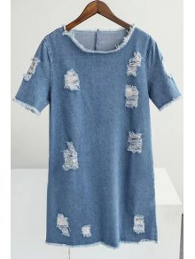 Loose Broken Hole Round Neck Short Sleeve Denim Dress - Blue S