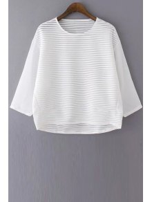 Loose See Through Round Neck Bat-Wing Sleeve Blouse - White M