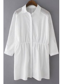 Solid Color Mesh Splicing Turn-Down Collar 3/4 Sleeve Dress