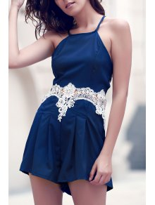 Lace Insert Cami Romper - Purplish Blue