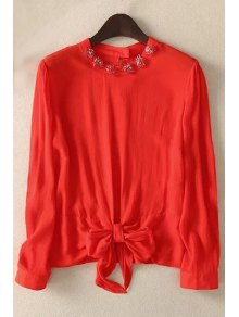 Bowknot Solid Color Round Neck Long Sleeve Blouse - Red M