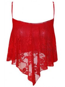 Lace Spliced Cami Cropped Tank Top - Red
