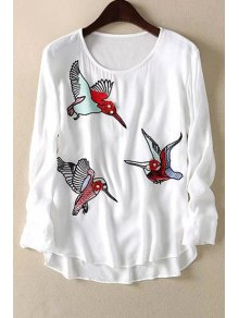 Loose Floral Bird Print Round Neck Long Sleeve T-Shirt
