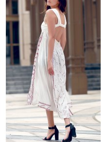 Backless Straps Embroidery Side Slit Dress - White L