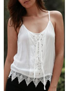 Lace Up Cami Tank Top - White Xl