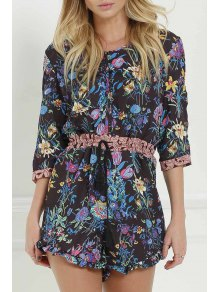 Full Floral Scoop Neck 3/4 Sleeve Romper - Black S