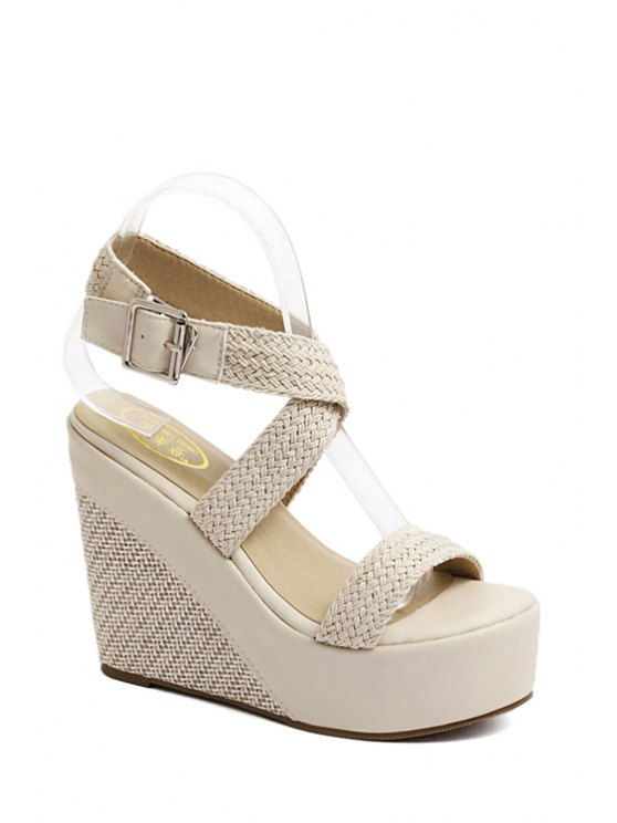 Weaving Cross-Strap Wedge Heel Sandals - APRICOT 35 Mobile