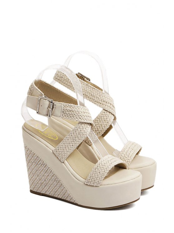 Weaving Cross-Strap Wedge Heel Sandals - APRICOT 36 Mobile
