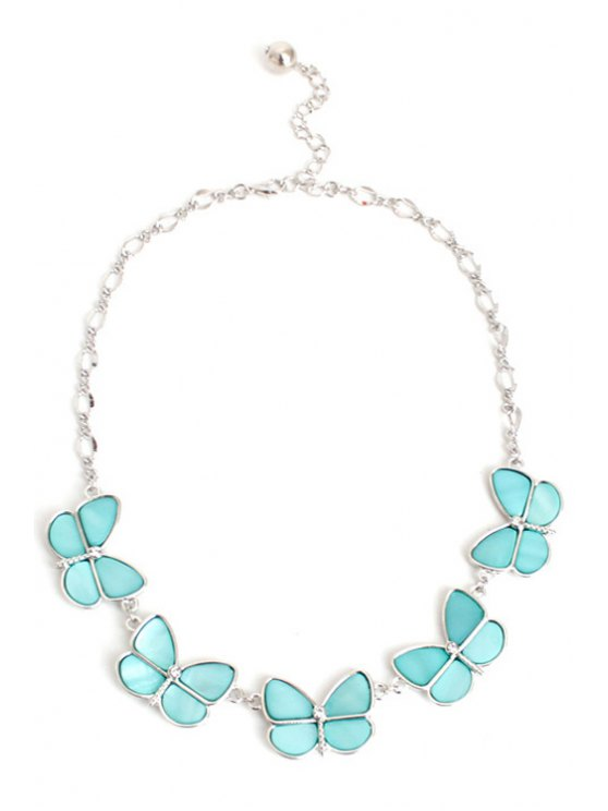 Glaring Faux Gemstone Butterfly Necklace -   Mobile