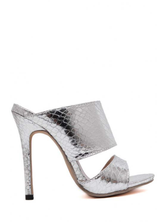 affordable Metallic Color Stiletto Heel Slippers - SILVER 38