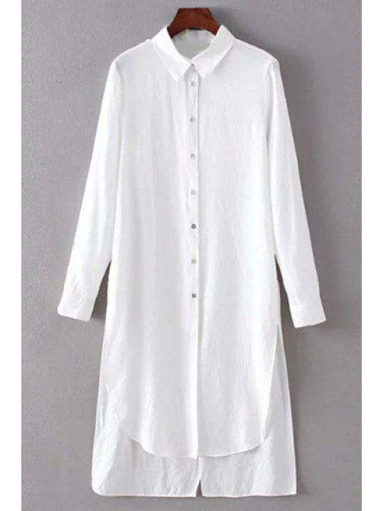 Solid Color Side Slit Shirt Collar Long Sleeve Shirt - WHITE S Mobile