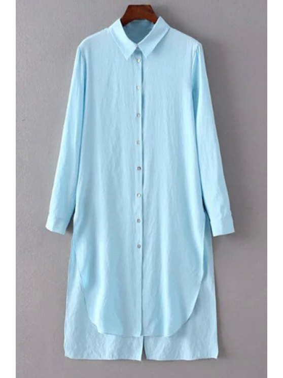 hot Solid Color Side Slit Shirt Collar Long Sleeve Shirt - LIGHT BLUE L