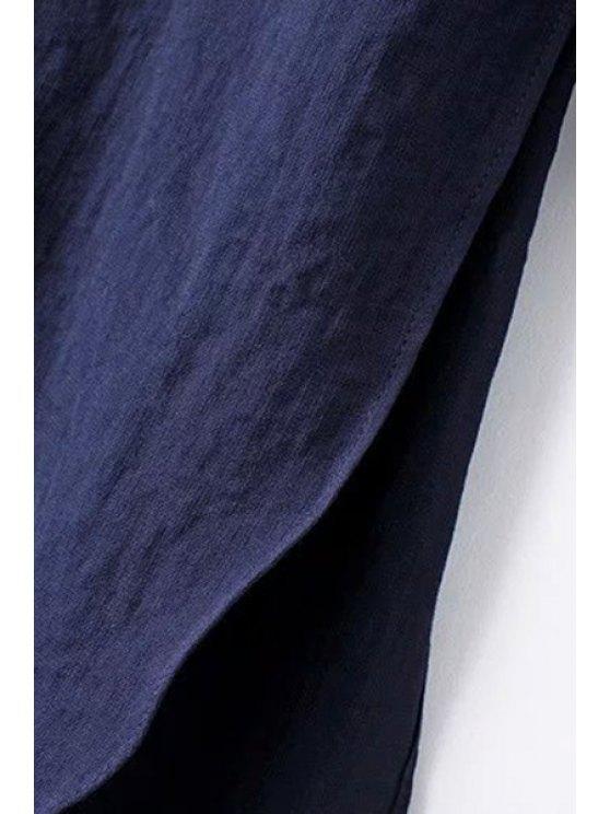 Solid Color Side Slit Shirt Collar Long Sleeve Shirt - LIGHT BLUE L Mobile