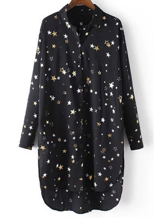 Loose Stars Print Turn-Down Collar Long Sleeve Chiffon Shirt - BLACK L Mobile