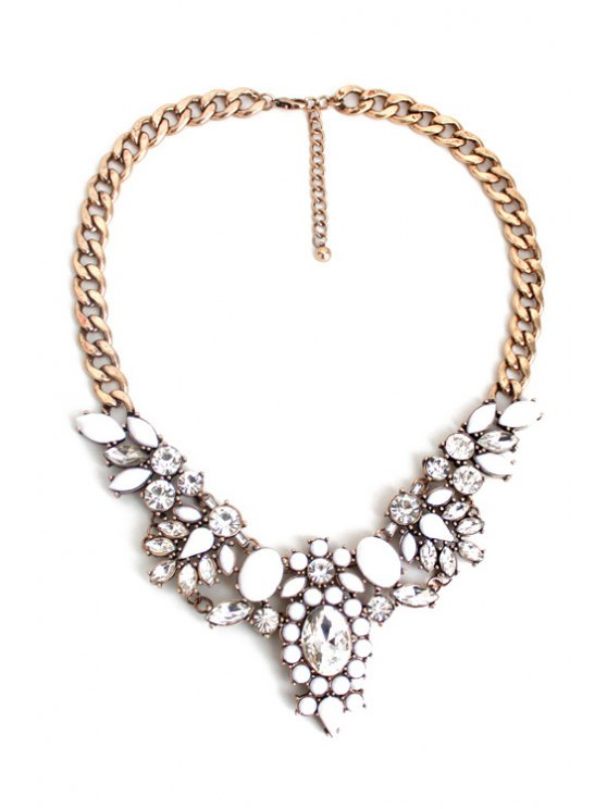 Faux Crystal Floral Necklace - GOLDEN  Mobile