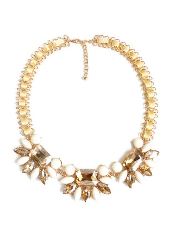 Charming Blossom Faux Crystal Necklace -   Mobile