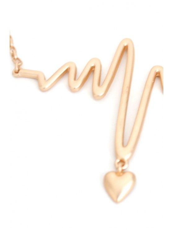 Electrocardiogram Heart Shape Necklace - GOLDEN  Mobile