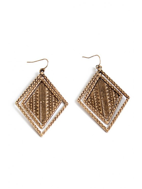womens Vintage Alloy Carving Earrings - COPPER COLOR