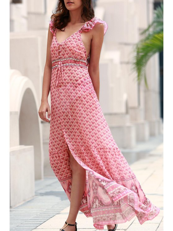 online Tiny Floral Ruffle Strap Flowing Dress - PINK XL