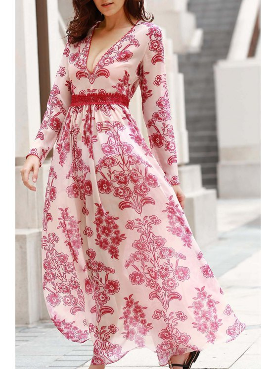 unique Deep V Neck Flower Print Long Dress - RED WITH WHITE M