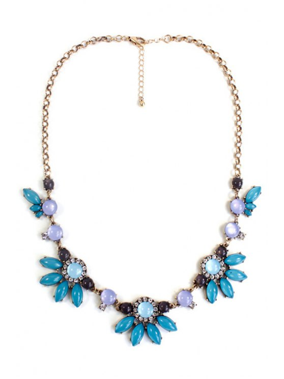 Floral Faux Gemstone Necklace - GREEN  Mobile