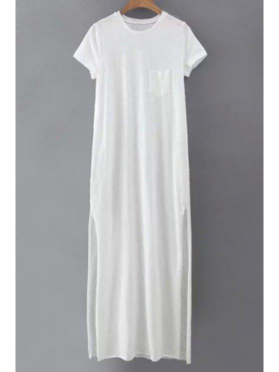 La raja del lado del cuello redondo corto Vestido largo de la manga - Blanco L