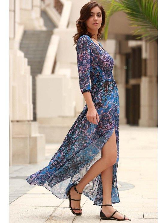 V-Neck Single-Breasted Maxi Dress - BLUE S Mobile